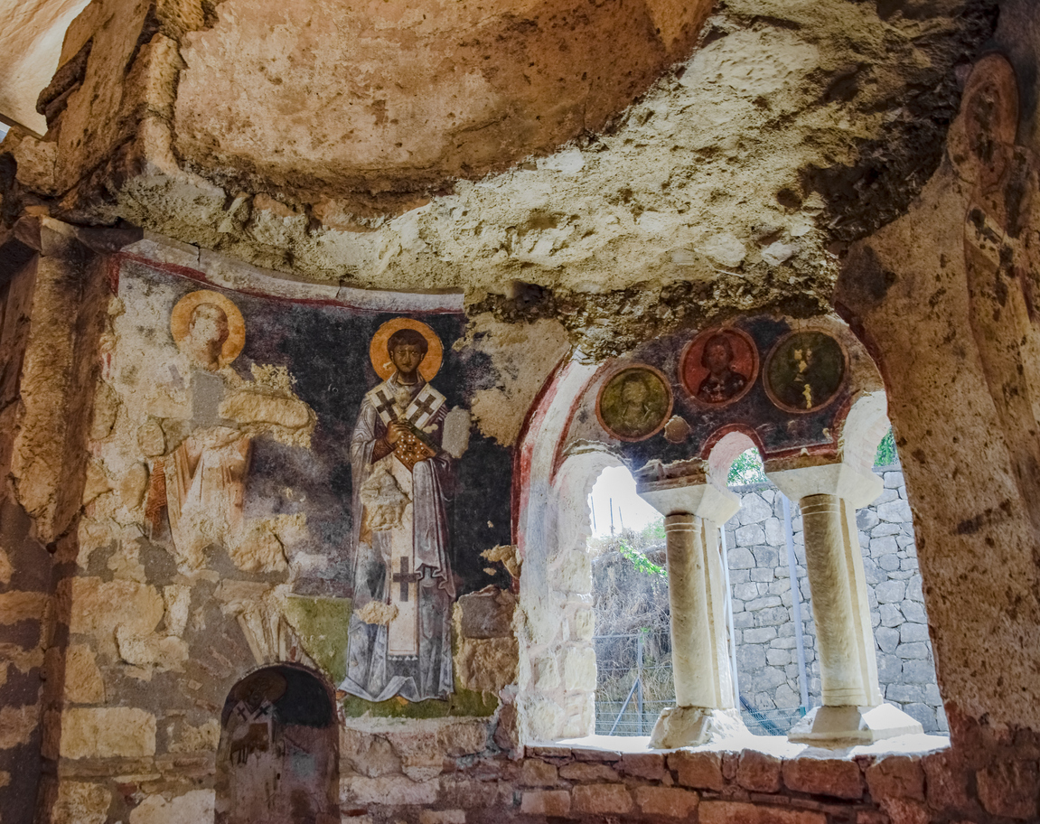 The building of Church of St. Nicholas in Turkey, Demre. Walls, columns and frescoes on the wall of the temple.