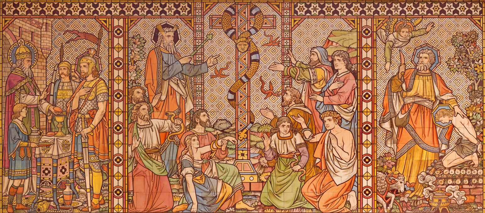 London – The tiled mosaic of Old testament scenes with the patriarchs, Melchizedek, Moses and Abraham in church All Saints by Matthew Digby Wyatt (1820 – 1877).